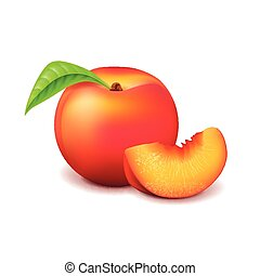Peach and slice isolated on white vector - Peach and slice...