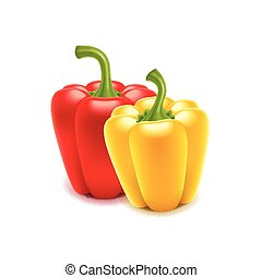 Sweet pepper isolated on white vector - Sweet pepper...