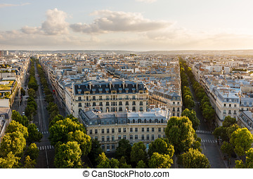 Late afternoon 16th arrondissement rooftops, Paris, France -...