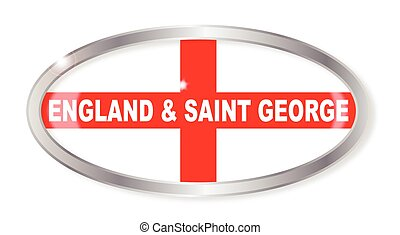 England and Saint George Oval Button - Oval silver button...