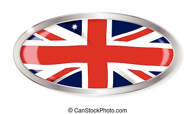 Union Jack Oval Button - Oval silver button with the Union...