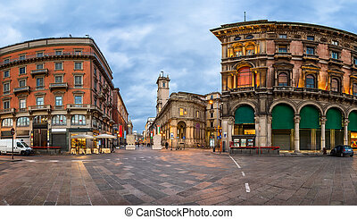 Piazza del Duomo and Via dei Mercanti in the Morning, Milan,...