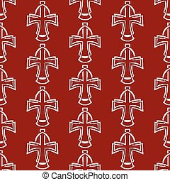 Vector seamless background. White cross on a red