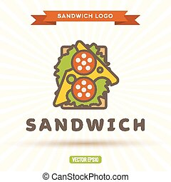 Sandwich with cheese sausage salad logo vector illustration