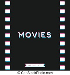 Motion picture film in 3D, vector illustrations