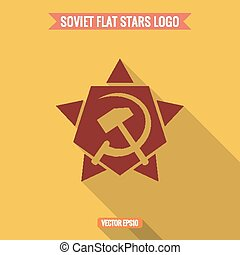 Logo star, hammer and sickle, flat style vector illustration...