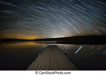 Startrails over the lake.