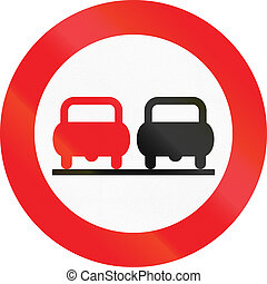 No Overtaking in Austria - Austrian traffic sign: No...
