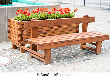 sitting area - Bench with flower pots