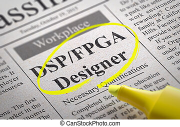 DSP, FPGA Designer Jobs in Newspaper. Job Search Concept.
