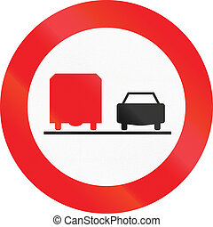 No Overtaking By Lorries in Austria - Austrian traffic sign:...