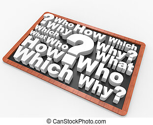 Who What Where on Blackboard 3d concept