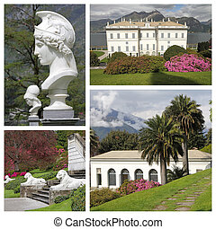 group of images of the Villa Melzi d'Eril and famous gardens...