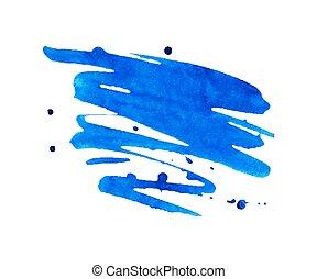 Blue watercolor stain with aquarelle paint blotch - Vivid...