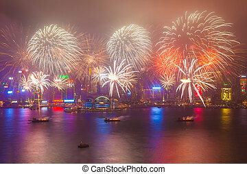 2015 Chinese New Year fireworks - HONG KONG - FEBRUARY 20,...