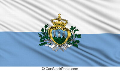 San Marino Flag, with real structure of a fabric