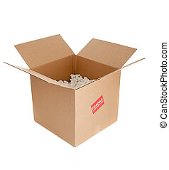 a packing box with a fragile sticker - a brown corrugated...