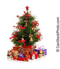 abeto, adornado, árbol, navidad