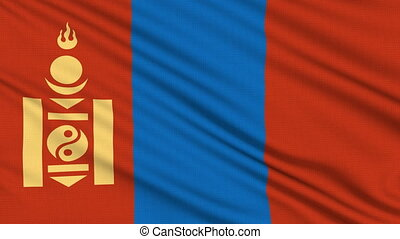 Mongolia Flag, with real structure of a fabric