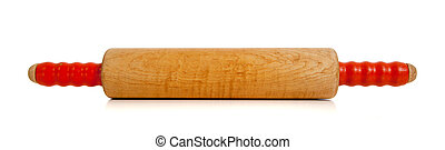 wooden rolling pin on white