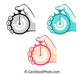Stopwatch - Colorful stopwatch in hand icons isolated