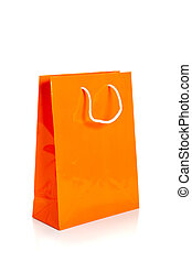 orange shopping bag on white