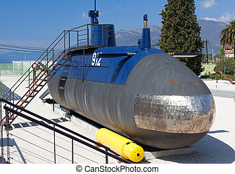 Old submarine near the Tivat, Montenegro - Old submarine...