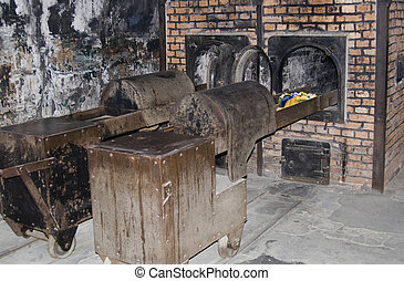 Oven for incineration dead bodies in Auschwitz - Birkenau...