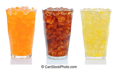 Three Glasses of Soda - Closeup of three glasses of soda,...