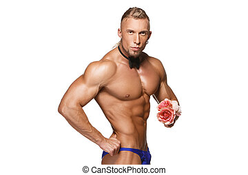 the very muscular handsome sexy guy on white background,...