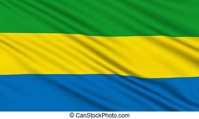 Gabon Flag, with real structure of a fabric