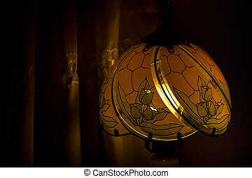 Tiffany Style Lamp Closeup - Closeup view interior room...
