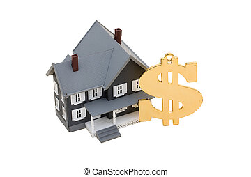 Mortgage Help - A model house with a dollar symbol on a...