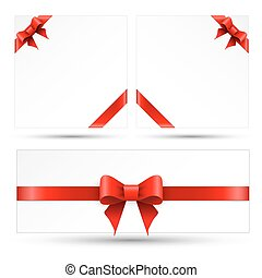 Set red gift bows with ribbons