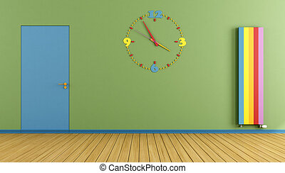 Empty Playroom with blue door colorful clock and verical...