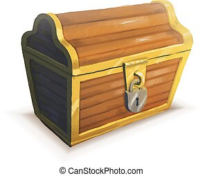 Realistic icon of treasure chest isolated