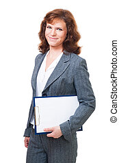 business woman stand with tablet