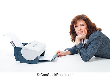 woman lay with printer tired to wait