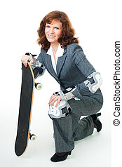 Business woman with skate
