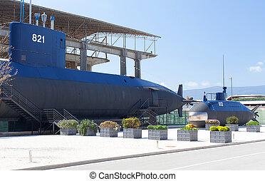 viejo, Submarino, cerca, el, Tivat, Montenegro,