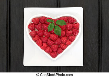 Raspberry Super Food - Raspberry super food fruit in a heart...