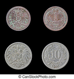 Two European coins on a Black Background. - Obverse and...