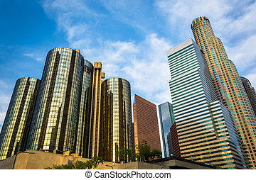 Skyscrapers in the Financial District, in downtown Los...