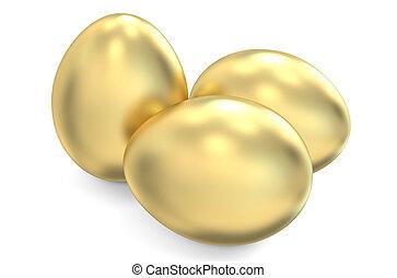 Golden eggs - golden eggs isolated on white background
