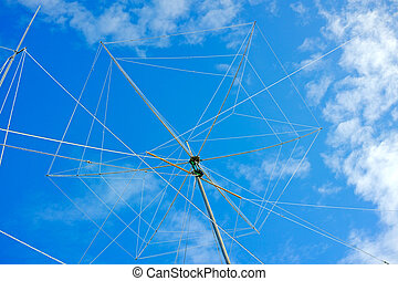 Wire rotating directional antenna on a background of blue...