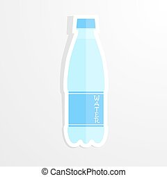Realistic paper sticker water bottle. Isolated illustration...
