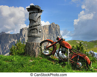 Old Motorbike, Dolomites Mountains, Italy, Summer 2009 -...