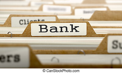 Bank Concept with Word on Folder - Bank Concept Word on...