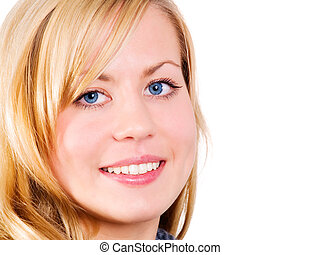 closeup of beautiful smiling blond woman over white