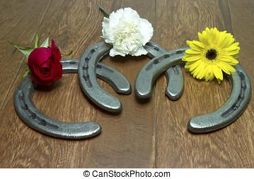 flores, Ferraduras, coroa, triplo